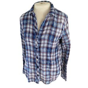 Anthropologie Cloth & Stone Red Blue Plaid Top
